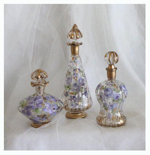 Romantic Vintage Lavender Roses and Violets Perfume Bottles (3) - Debi Coules Romantic Art