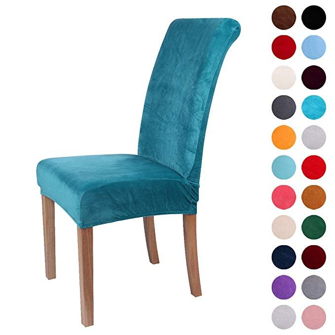 Colorxy Velvet Spandex Fabric Stretch Dining Room Chair Slipcovers Home Decor Set Of 4 Peacock Green Review Dining Room Chair Slipcovers Slipcovers For Chairs Turquoise Dining Chairs
