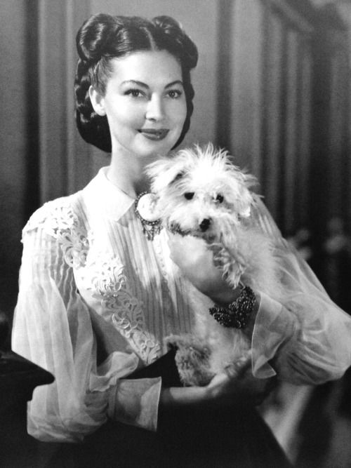 avasgal:      Ava Gardner was a true animal lover throughout her life. Even in death, she donated a portion of her legacy to the Animal Health Trust, a British Animal Hospital. Here she is on the set of The Great Sinner (1949) with her co-star Coquette, a toy poodle.