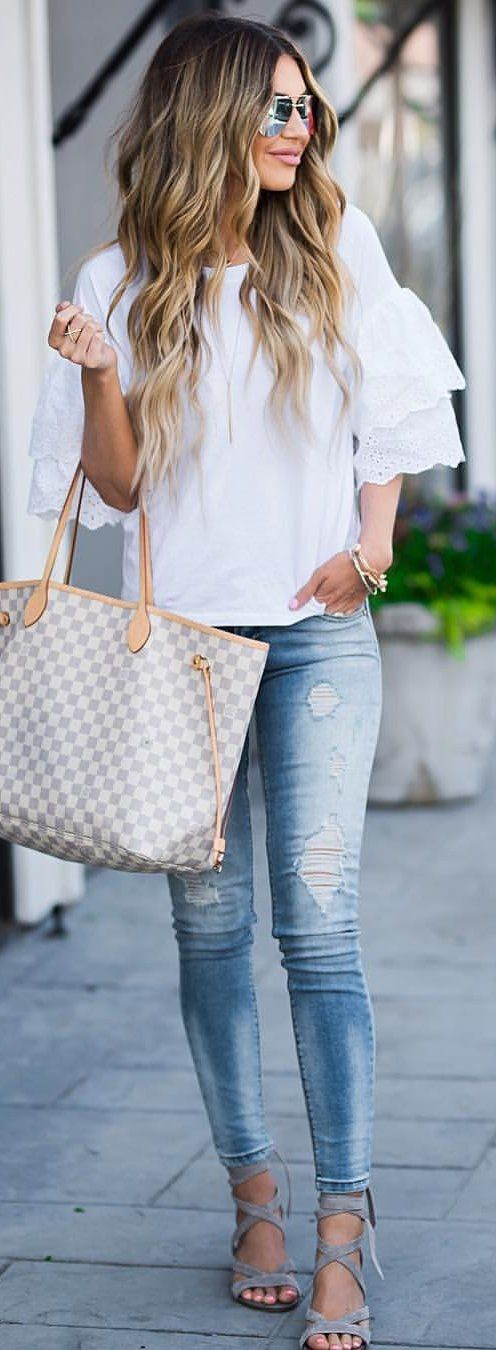 #summer #outfits Casual Monday  Ruffle Sleeves + Ripped Jeans ($64)