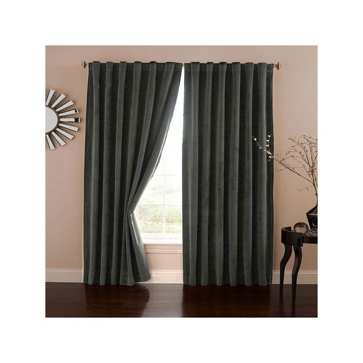eclipse Absolute Zero Velvet Thermaback Blackout Home Theater Curtain, Grey, Durable