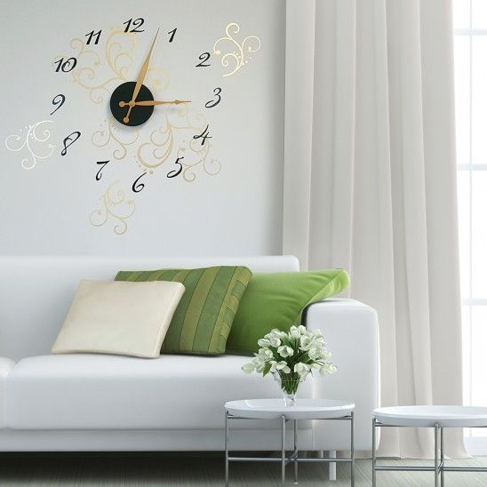 Add A Classy Timepiece To Your Space With This Decorative Vinyl Wall Clock Featuring An Easy Assemble Unique Flourish Design