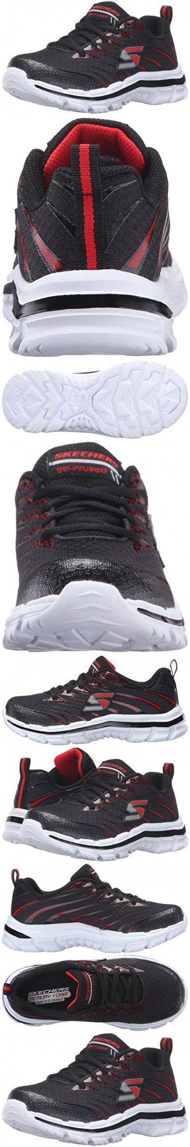 Skechers Kids Nitrate Wide Sneaker (Little Kid/Big Kid), Black/Red, 2 W US Little Kid