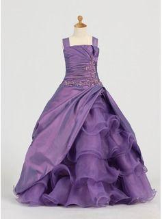 Corte A/Princesa Sin tirantes Hasta el suelo Tafetán  Organza Vestidos para niña de arras con Volantes  Bordoneado (010005784)