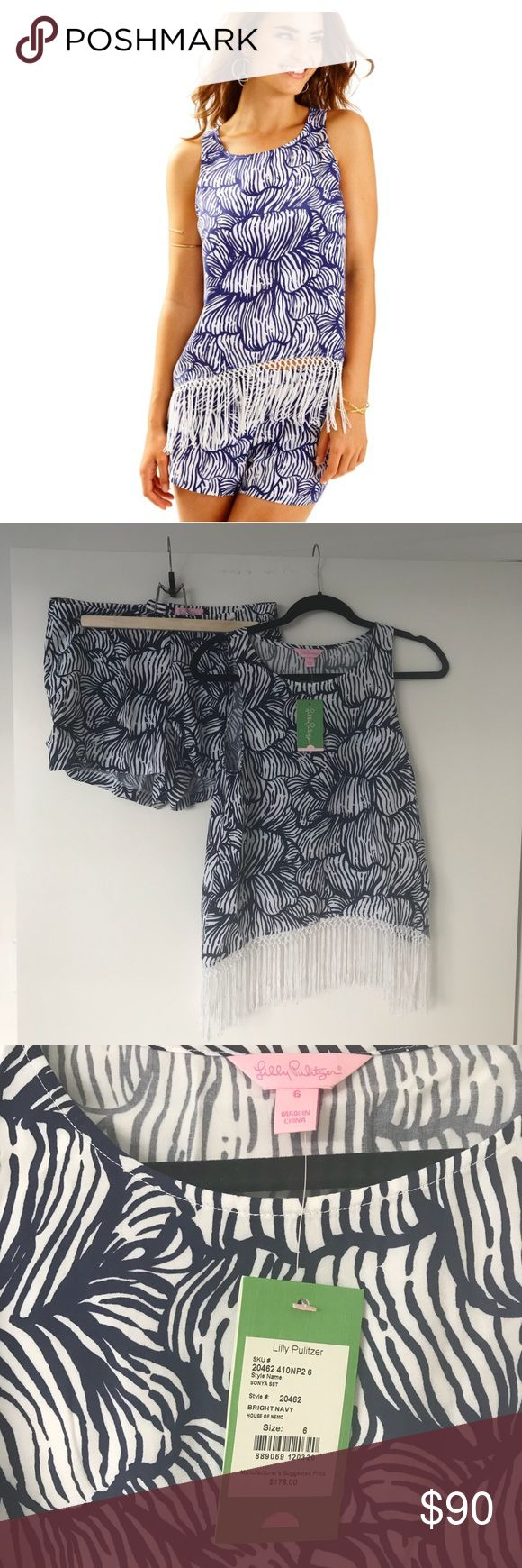 NWT Lilly Pulitzer Sonya Fringe Tank & Shorts Set Brand new Lilly Pulitzer Sonya Fringe Tank Top & Shorts Set, tags still on it. Navy and white print, a little more subtle than other Lilly prints. Absolutely love this set! Size 6 and runs true to size! Light weight but still thick enough material that it is not sheer. The braided detailing on the fringe are my favorite part (check out my picture)! Both top and short included, both tags listed as a 6. Lilly Pulitzer Other