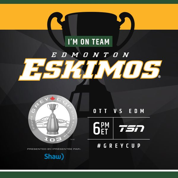 Who are YOU supporting today?  Repin & show your badge of support for the @EdmontonEsks.  #GreyCup #CFL