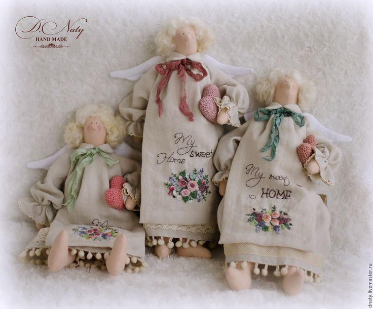 Купить Домашние ангелы - бежевый, льняной, молочный, ангел, текстильный ангел, текстильная кукла