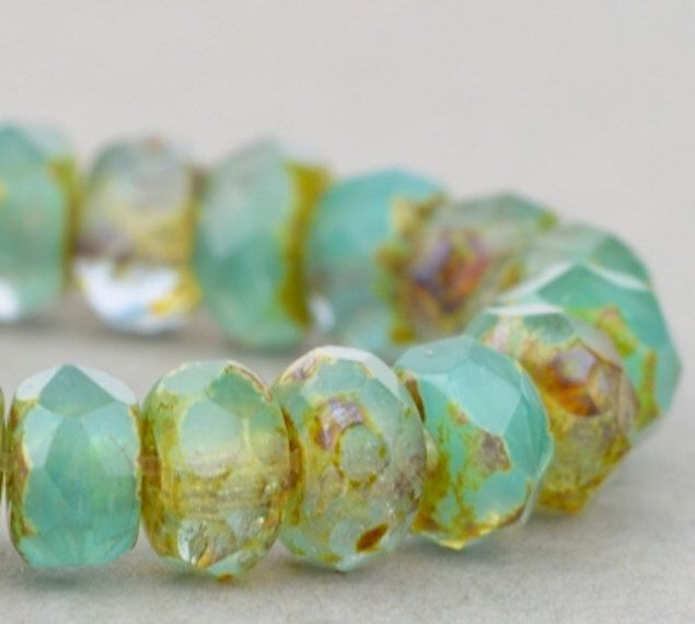 Czech Glass Beads - Czech Glass Rondelles - Aqua Green Crystal Mix Opaque Transparent with Picasso - 5x3mm - 30 Beads by SolanaKaiBeads on Etsy https://www.etsy.com/listing/483797947/czech-glass-beads-czech-glass-rondelles