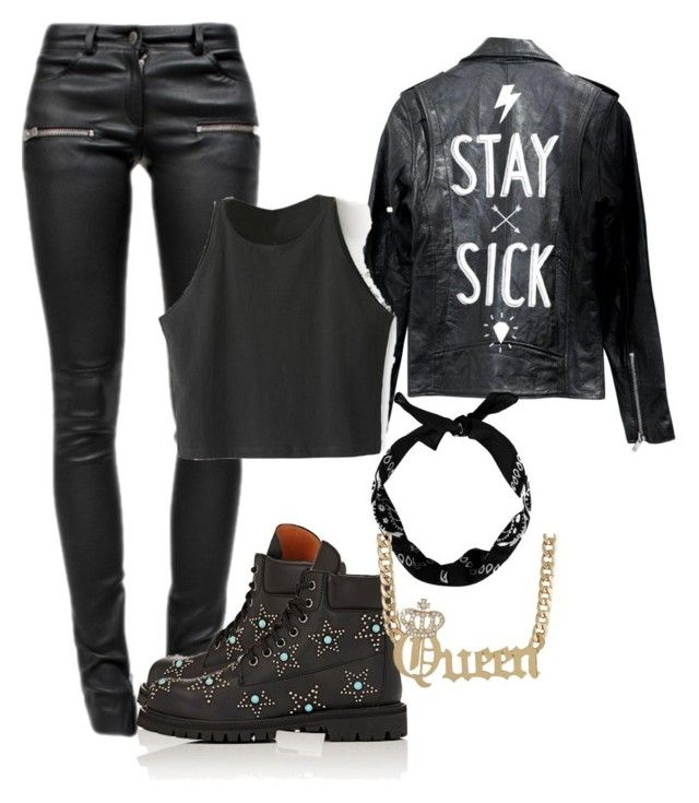 """""""Stay Sick Queen Vic"""" by holographicqueen ❤ liked on Polyvore featuring Deadwood, Anine Bing, New Look and Valentino"""