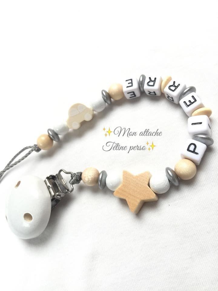 attache tétine personnalisée perles en bois ~ modèle nature blanc argent : Puériculture par mon-attache-tetine-perso