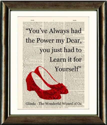 Ruby Slippers/Wizard of Oz Heart Quote- vintage book page print image on a page of a late 1800s Dictionary Buy 3 get 1 Free