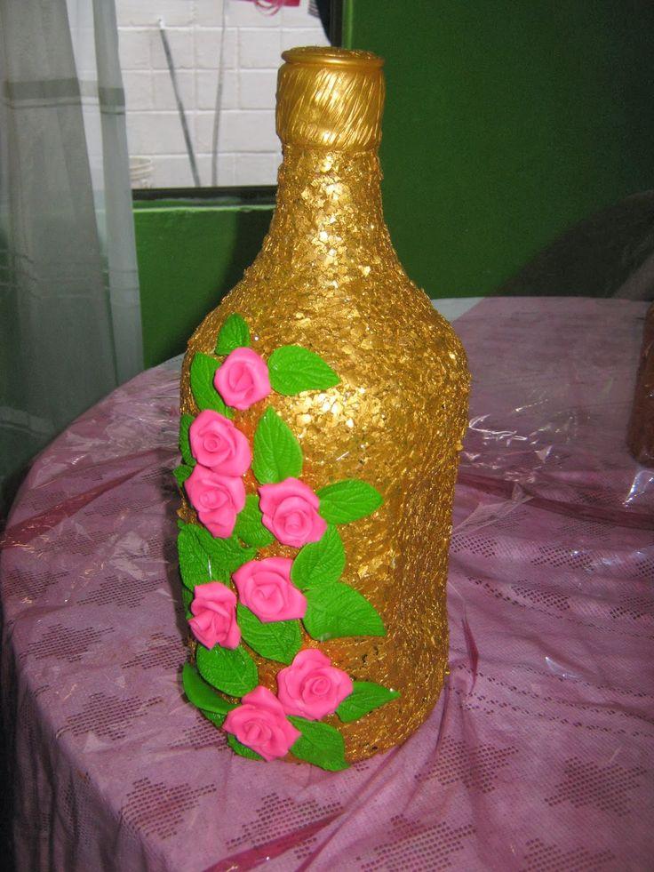 botellas de cristal decoradas con cascara de huevo ...