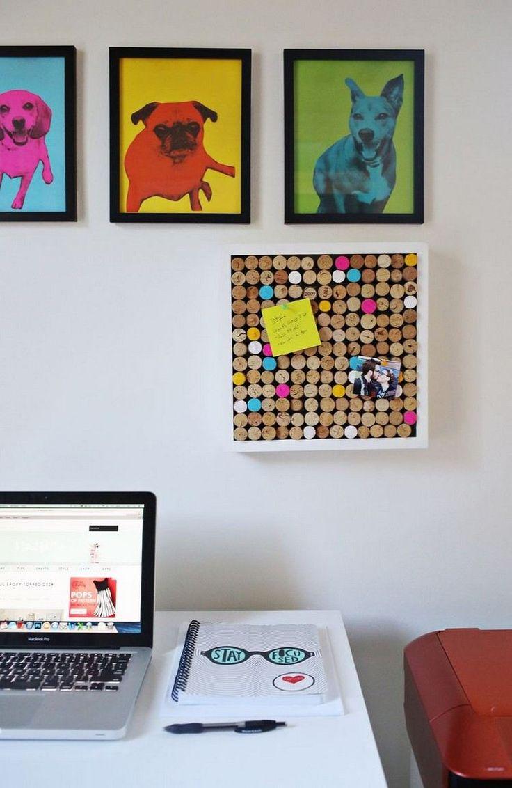 déco chambre ado fille DIY - panneau d'affichage à partir d'une boîte de rangement et bouchons en liège