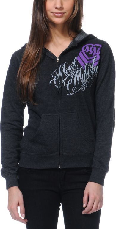 corset charcoal zip up hoodie from zumiez.com.   The back of this hoodie rocks.