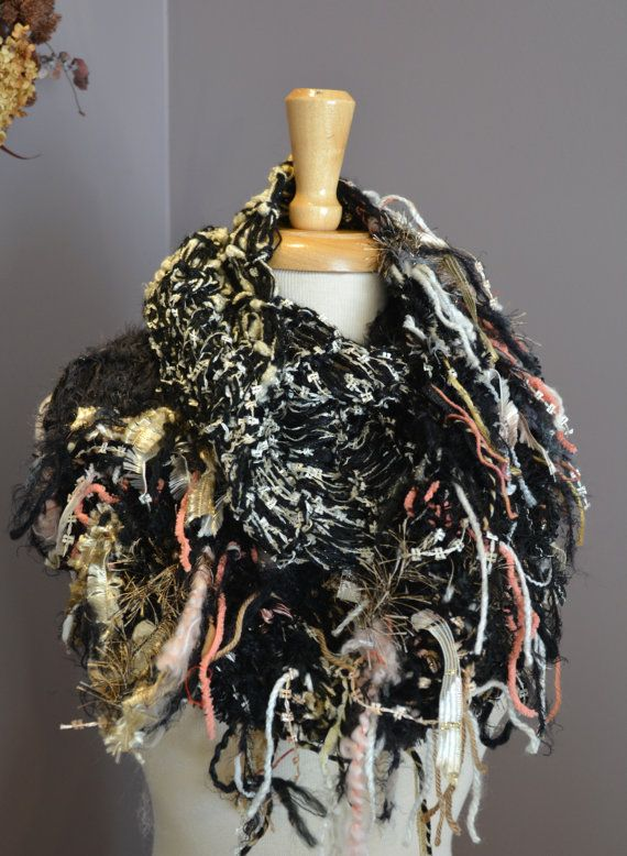 Art Knit Infinity Scarf - Peacock Knit Infinity Series - Dumpster Diva Fringed 'round' Scarf or cowl in black, peach, salmon, grey, gold on Etsy, $50.00