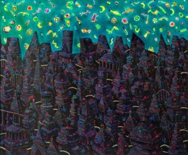 """City with green sky"" ( painting nr 282 )"