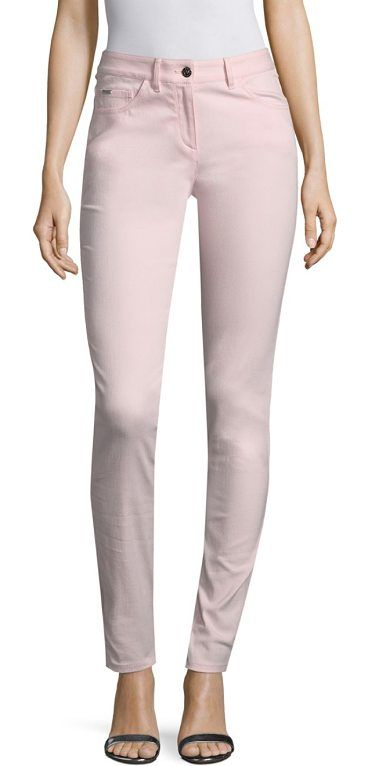 """stretch denim bardot jeans by St. John. Classic fashion-fit jeans for a flattering silhouette. Belt loops. Five-pocket style. Zip fly with button closure. Exposed seams. Rise, about 12"""".Inseam, about 30"""".Cotton/nylon/elastane. Dry clean. Made in USA of imported fabric. Model s... #stjohn #jeans #denim"""