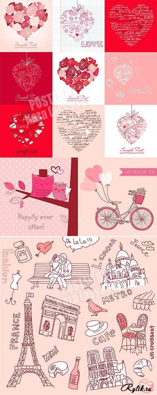 Влюбленная пара, сердца, птицы, Эйфелева башня - векторные рисунки