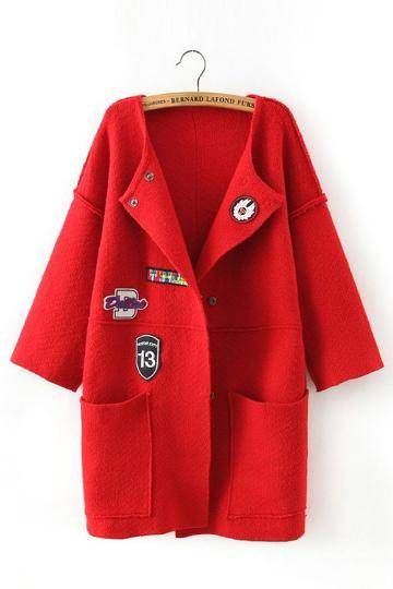 Red Drop-shoulder Coat with Patch Pattern Detail - US$39.95 -YOINS