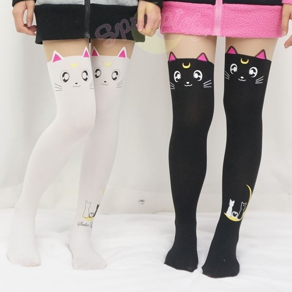 Artemis And Luna Sailor Moon tights - wish they made a pair with one leg Artemis and one leg Luna