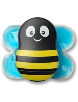 Saw this in the pediatricians office, and in the hospital. They used them on little ones when getting shots or taking labs. The wings are cold packs and the bee vibrates. You put it next to the injection site to distract baby. 39.95 www.buzzy4shots.com.