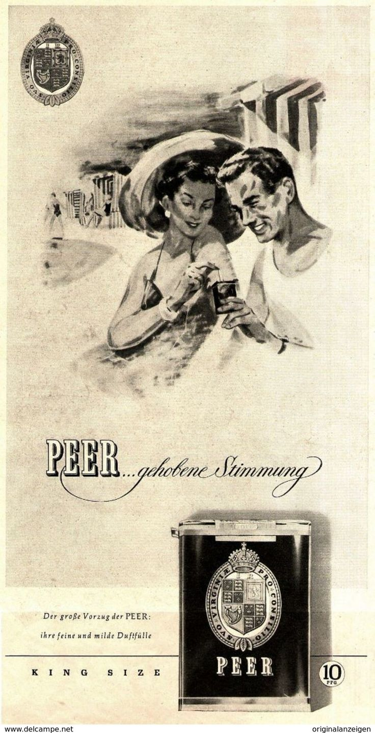Original-Werbung/ Anzeige 1955 - PEER CIGARETTEN - Ca. 160 X 310 Mm - Werbung