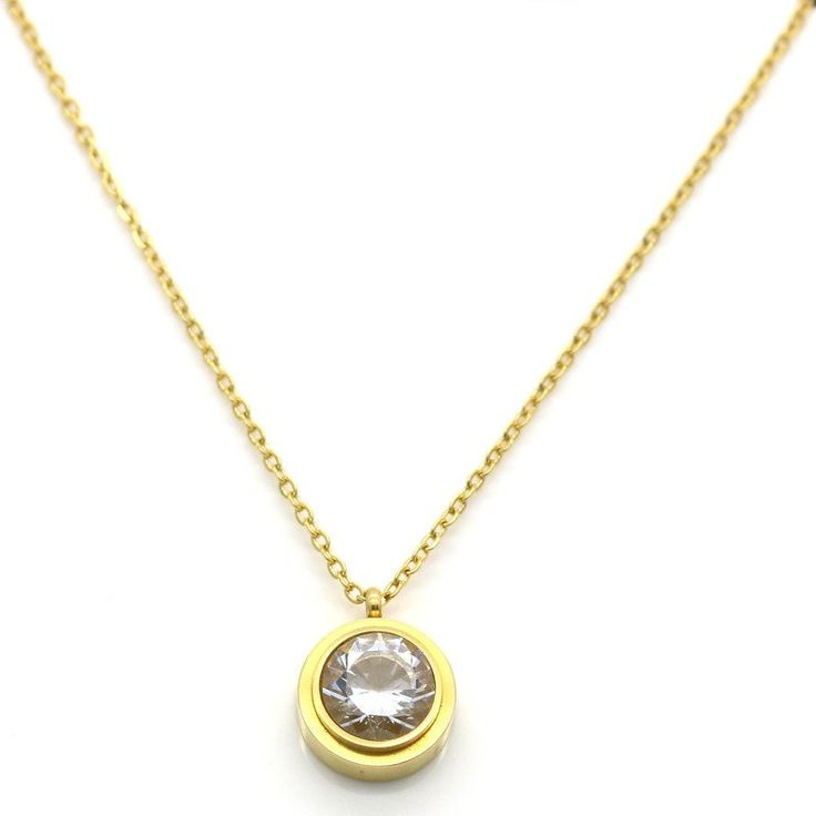 [300] Crystal Necklace Pendant Stainless Steel