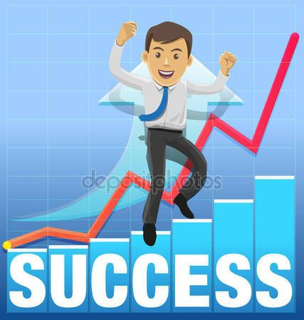 Vector illustration young executive mascot for success