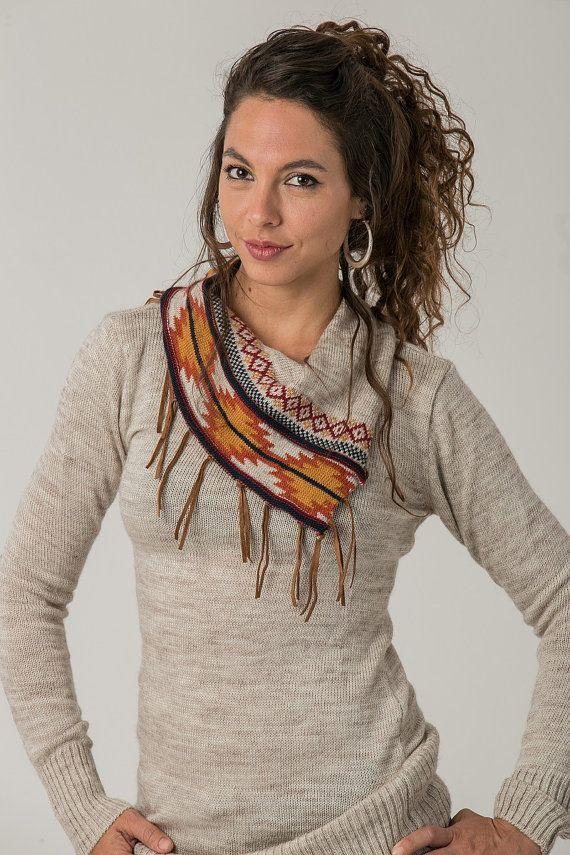 Bohemian Women's Sweater Tribal Sweater Winter by SamayaFashion