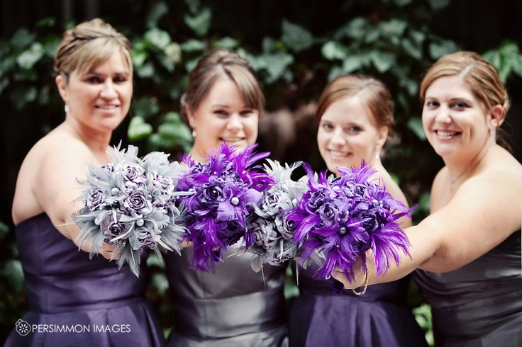 Purple Black and Silver Wedding Feather bouquets--- woah! These are cool