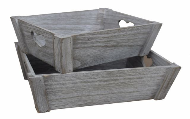 White wash Wooden Vintage Style Heart Storage Wood Hamper Crate Tray Gift