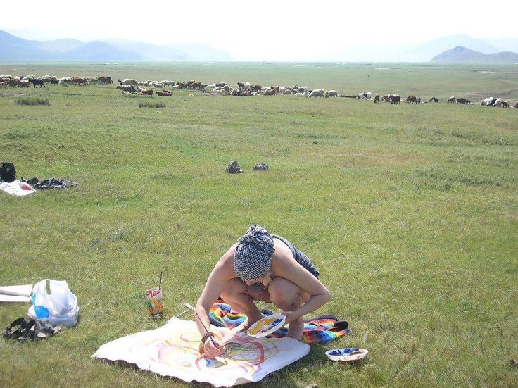 Painting in Mongolian steppe.