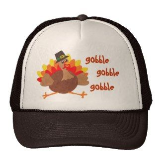 "Funny ""Gobble Gobble""  Thanksgiving Turky - Cap Mesh Hats"