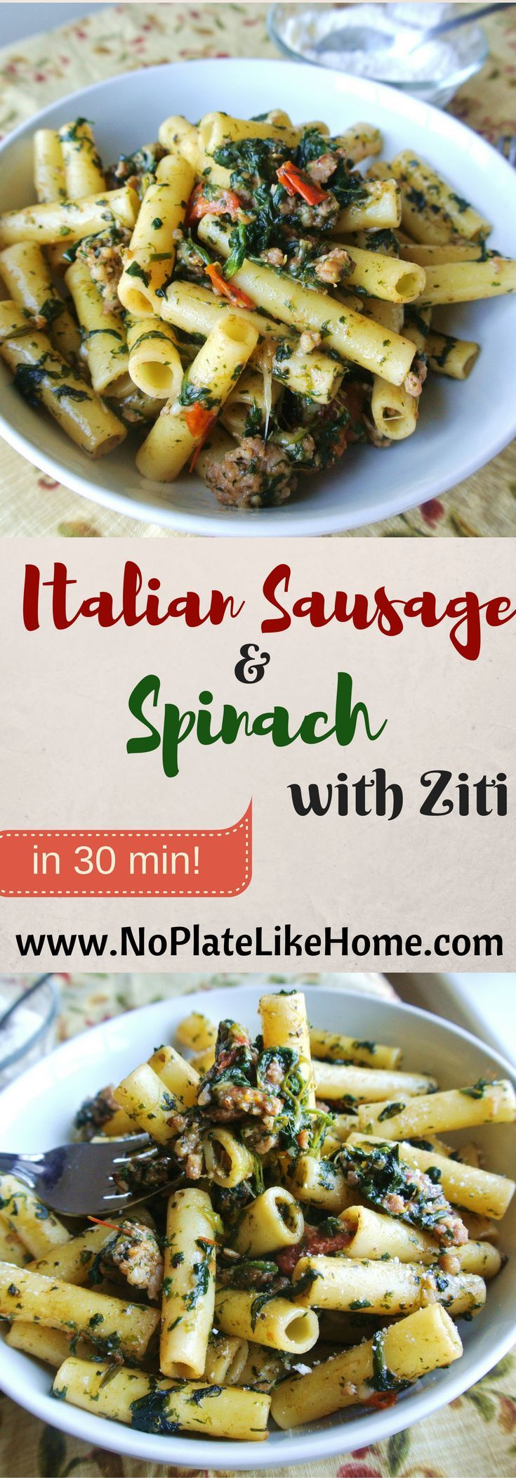 An easy and delicious Italian Sausage and Spinach with Ziti dish that can be made in 30 minutes. It is the perfect weeknight dinner or pasta meal!