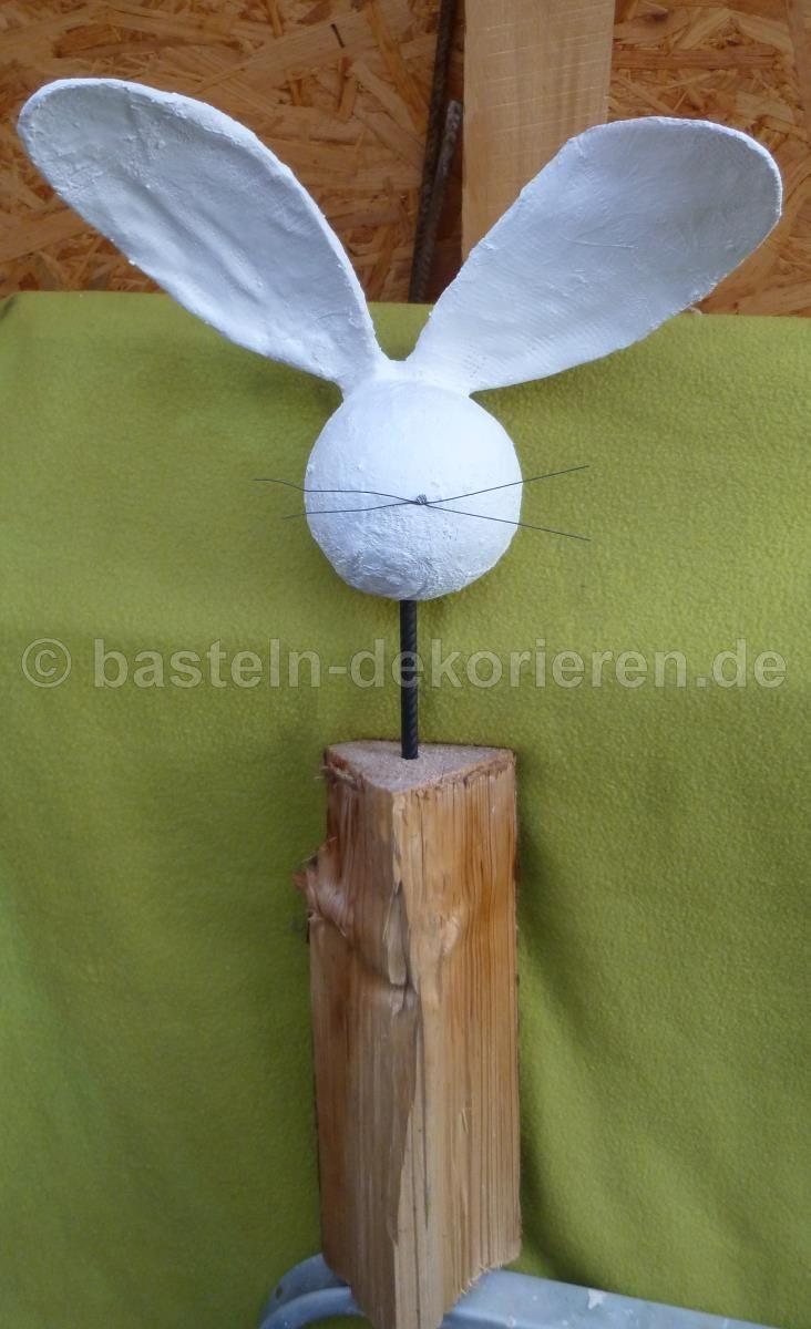 Bastelanleitung Hase aus Holz und Gips