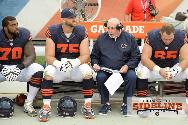 From left: RT Bobby Massie, RG Kyle Long, O­Line Coach Dave Magazu and C Cody Whitehair.