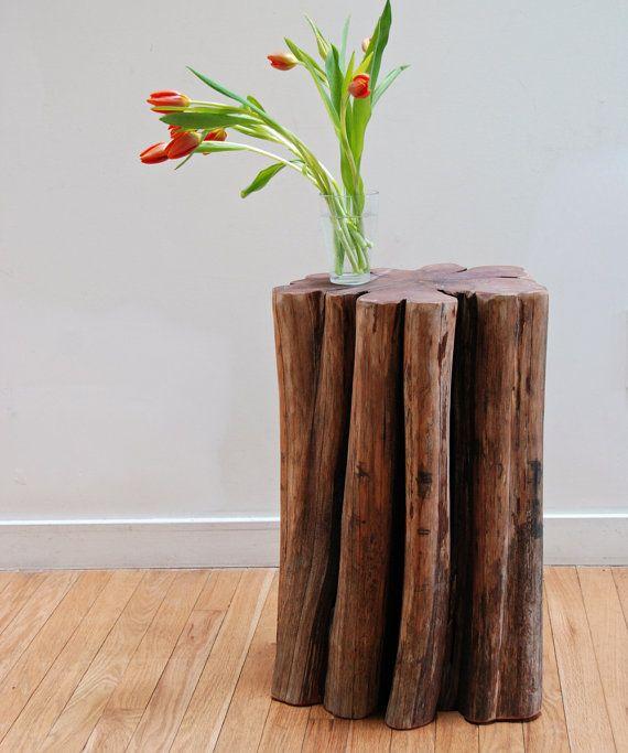 Rustic Cedar Side Table Tree Stump Stool Catskill Mountain Wood Indoor Outdoor  Furniture On Etsy,