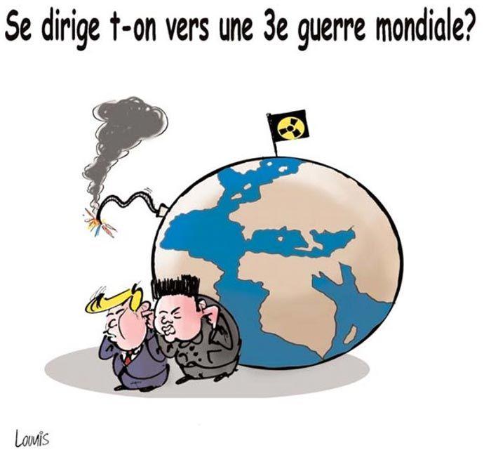 Lounis (2017-04-13) Se dirige t-on vers une 3e guerre mondiale ?Trump - Kim Jong-un  (USA - Corée du Nord )  ÷÷ Caricature de Lounis du 13-04-2017 | Presse-dz