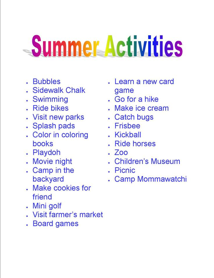 25 Fun things to do in the summer with your kids! Print it out and start having fun!