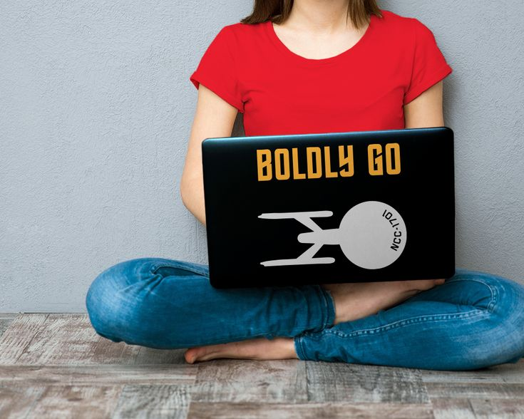 """Star Trek Enterprise Boldly Go SVG File Cutting Template INSTANT DOWNLOAD for DIY projects, from Designed by Geeks. Use vinyl & other materials for Silhouette, Cricut, ScanNCut. No desktop plotter cutting machine? Use a printer & transfer paper! Instructions included.  Boldly go where no SVG design has gone before. Features a silhouette of the original series Enterprise and ship number NCC-1701 with the worlds """"Boldly Go"""" above it in the style of TOS logo.cal."""