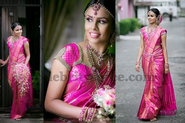 Bride in Light Weight Kanchi Saree | Saree Blouse Patterns