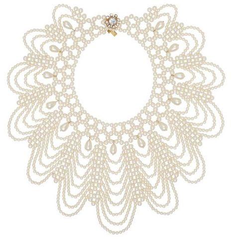 Pearl Scallop Bib necklace