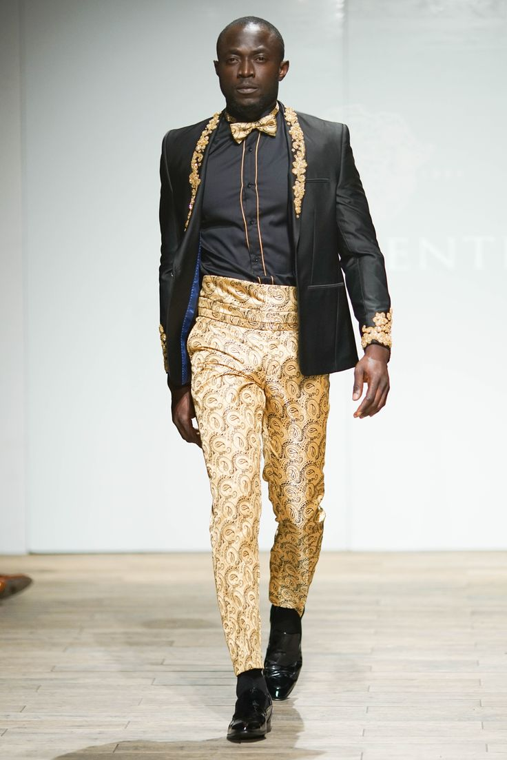 Black tuxedo jacket hand -embellished with gold beading, worn with a black tuxedo cotton shirt, complemented with gold detail and matched with a pair of gold Jacquard weave pants, cummerbund, bowtie. #SAFW #SAFWmen #PresidentialSAFW #PresidentialShirt #SAFWAW17 # — with Jimi Owobo Ogunlaja.