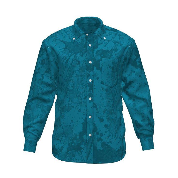 スプラッシュペイントのグラフィックシャツです。/『ペイントグラフィックシャツ 水色』 - 7th Spirits