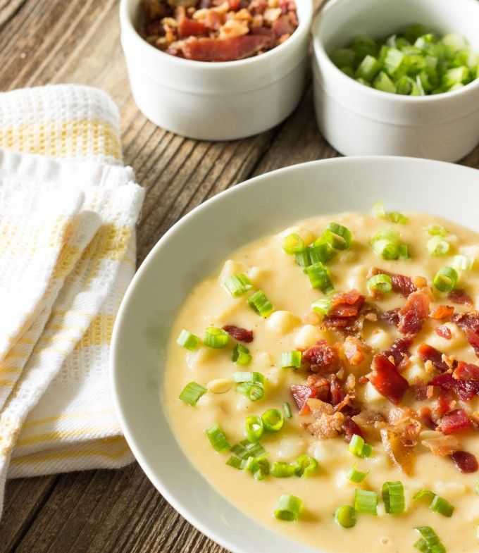 Skinny crock pot loaded potato soup is a lightened up version of loaded potato soup that only takes about five minutes to prepare.