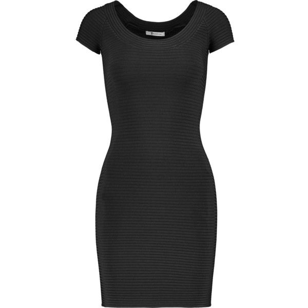 T by Alexander Wang - Ribbed Stretch-jersey Mini Dress (425 BRL) ❤ liked on Polyvore featuring dresses, black, stretch jersey, a line mini dress, ribbed dress, stretch jersey dress and mini dress