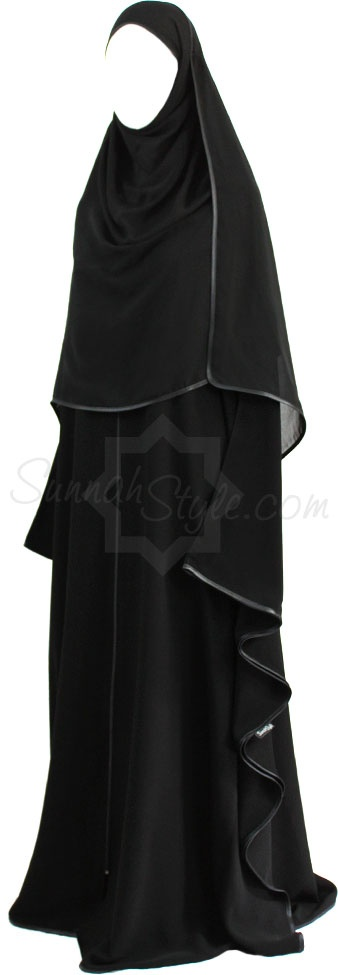 Satin Trimmed Full Zip Butterfly Abaya (Black) by Sunnah Style #SunnahStyle #farasha #abayastyle #butterflyabaya #satintrim