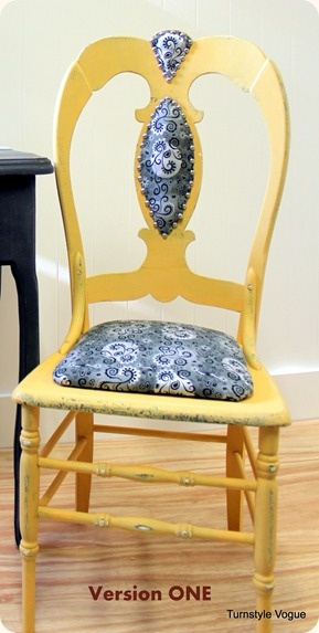 Ugly Chair Makeover....great wood filler idea, can use to get rid of the engraved wood area