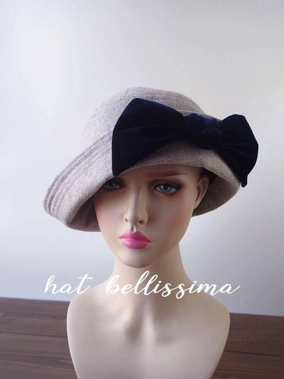 Sale Gray 1920 S Hat Vintage Style Hat Winter Hats Etsy Vintage Style Hat 1920s Hats Women Hat Fashion