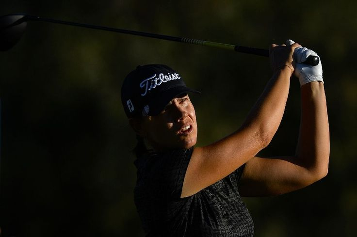 Karine Icher of France makes a tee shot on the second hole during round one of the ANA Inspiration, on the Dinah Shore Tournament Course at Mission Hills Country Club in Rancho Mirage, California, on March 30, 2017 (AFP Photo/Robert Laberge)